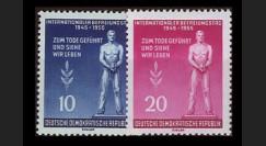 DDR195-196 : 1955 - 2 val. DDR '10e anniversaire de la libération des camps de déportation'
