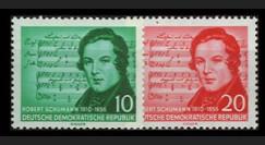 DDR264-265 : 1956 - 2 valeurs DDR 'Centenaire de la mort du compositeur Robert Schumann'