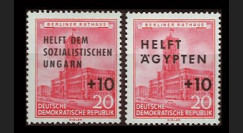 DDR282-283 : 1956 - 2 val. DDR '20Pf Hôtel de Ville Berlin surchargées +10Pf Aide Hongrie'
