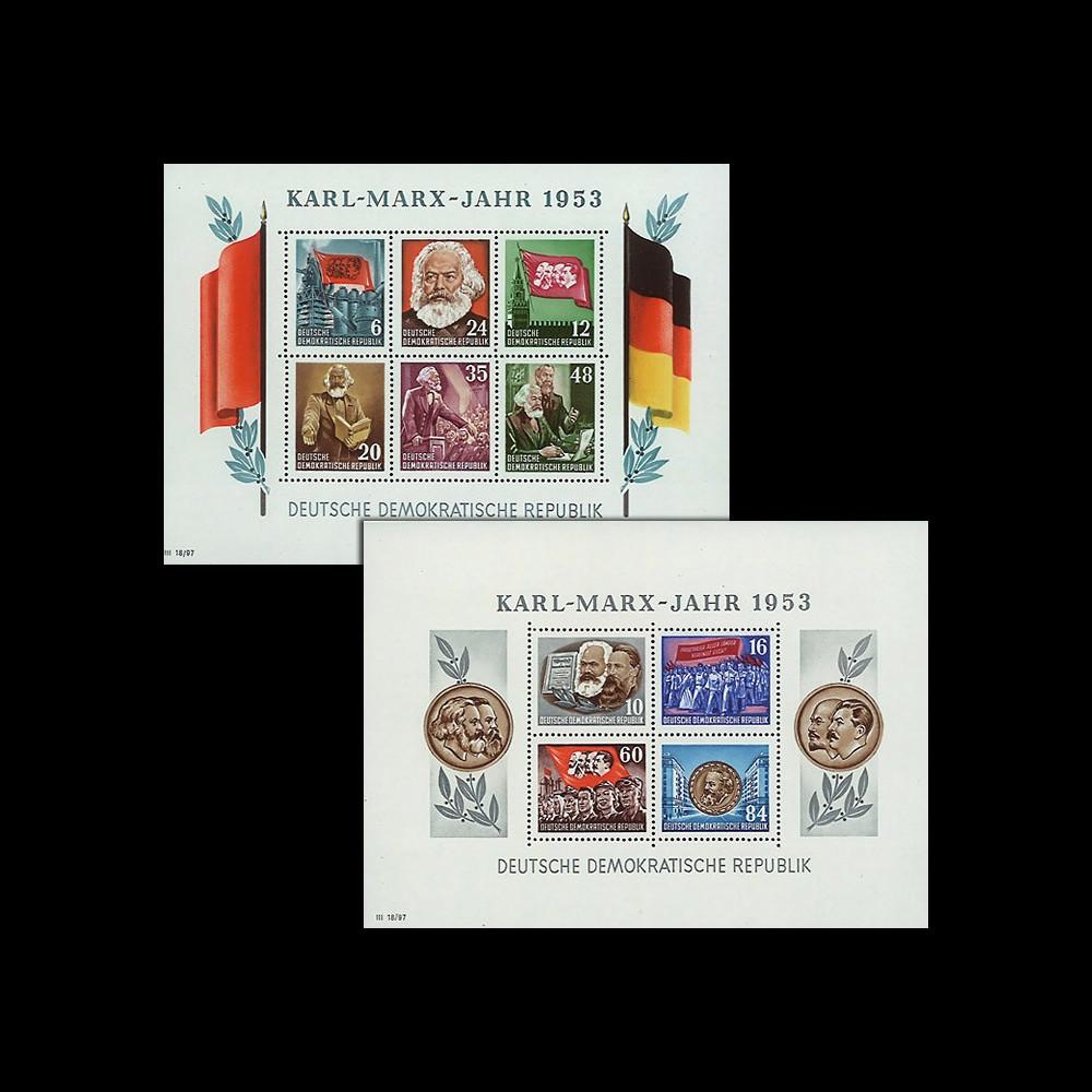 DDR2-3FD : 1953 - 2 blocs dentelés DDR '70e anniversaire de la mort de Karl Marx'