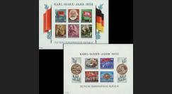 DDR2-3FND : 1953 - 2 blocs non-dentelés DDR '70e anniversaire de la mort de Karl Marx'