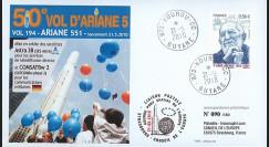 V194L-T1 : 2009 - FDC Kourou Vol 194 Ariane 551 - Astra 3B & COMSATBw-2 - 50e vol Ariane 5