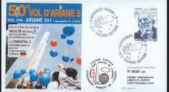 V194L-T2 : 2009 - FDC Kourou Vol 194 Ariane 551 - Astra 3B & COMSATBw-2 - 50e vol Ariane 5