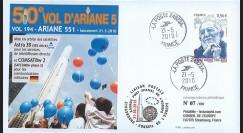 V194L-T3 : 2009 - FDC Kourou Vol 194 Ariane 551 - Astra 3B & COMSATBw-2 - 50e vol Ariane 5