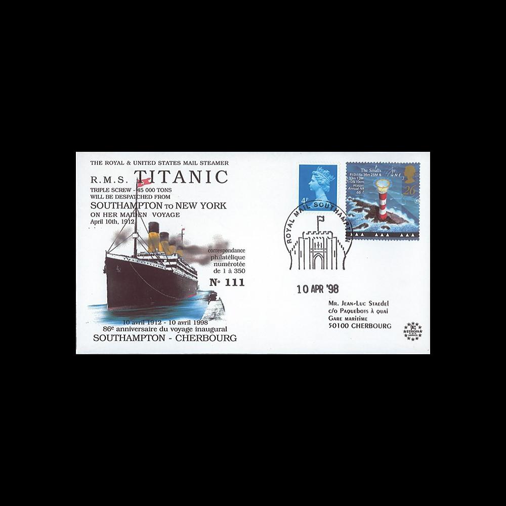 "TITANIC98-1 : 1998 - FDC  ""86e anniversaire du voyage inaugural du Titanic"" - Southampton"