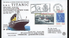 "TITANIC98-2 : 1998 - FDC  ""86e anniversaire du voyage inaugural du Titanic"" - Cherbourg"
