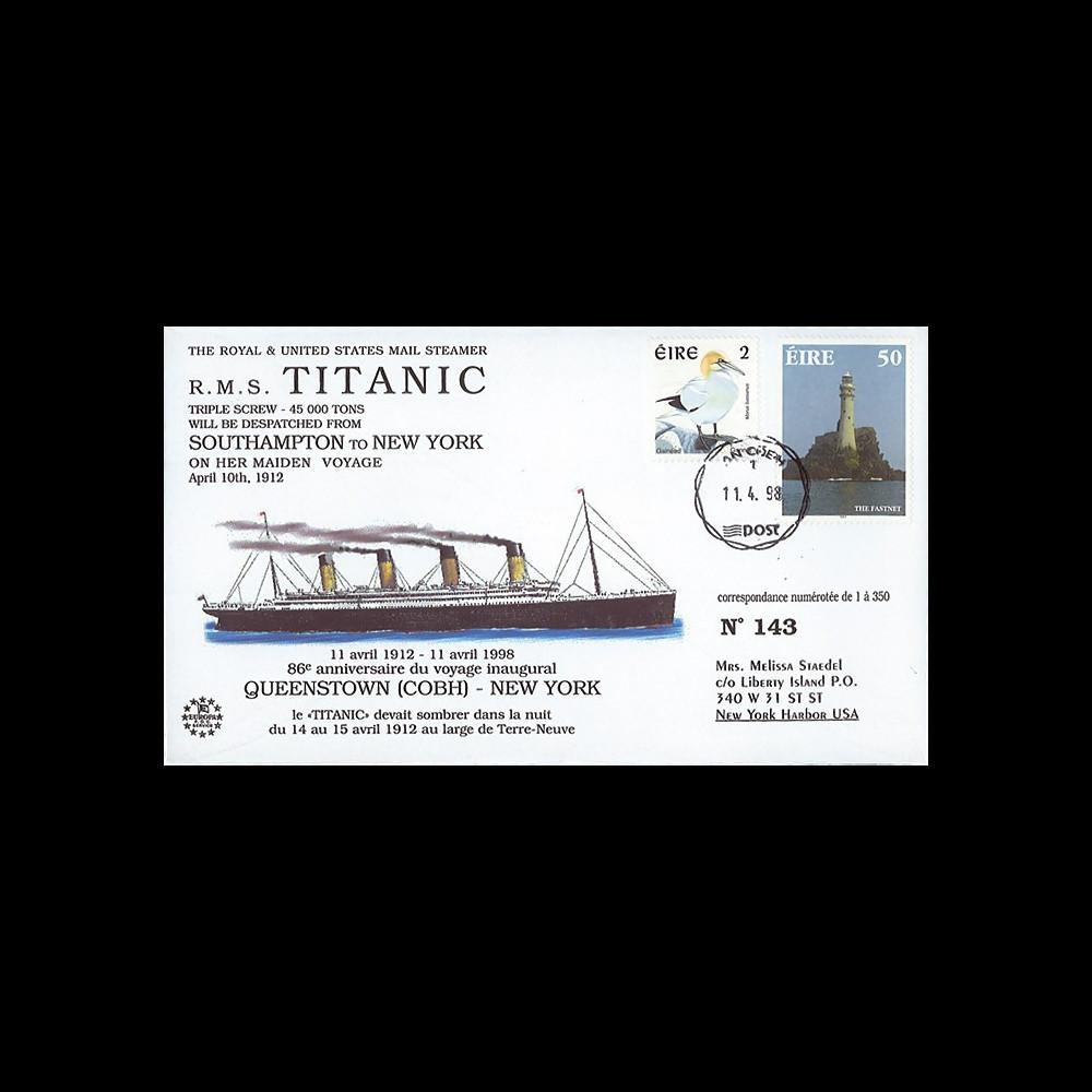 "TITANIC98-3 : 1998 - FDC  ""86e anniversaire du voyage inaugural du Titanic"" - Cobh"