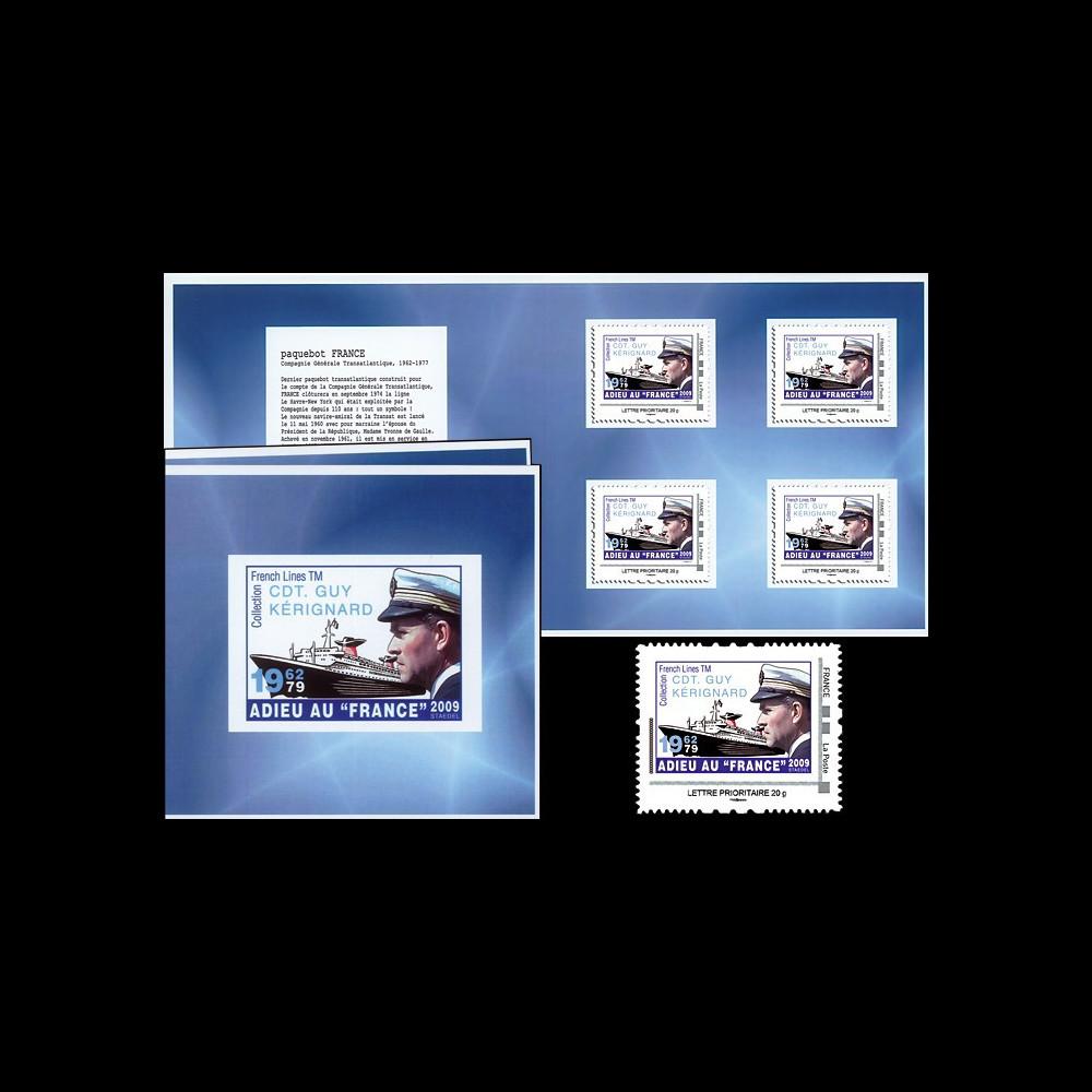 "FRANCE-09C : 2009 - Carnet Prestige ""Adieu au France 1962-79 - Commandant Kérignard"""