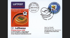 "A380-99T2 : 2010 - Carte voyagée à bord ""1er A380 Lufthansa - vol Johannesburg-Francfort"""