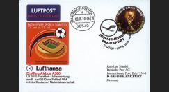 "A380-99T3 : 2010 - Carte voyagée à bord ""1er A380 Lufthansa - vol Johannesburg-Francfort"""