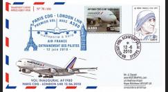 """A380-100 : 2010 - Pli voyagé """"1er vol A380 Air France Paris-Londres"""""""