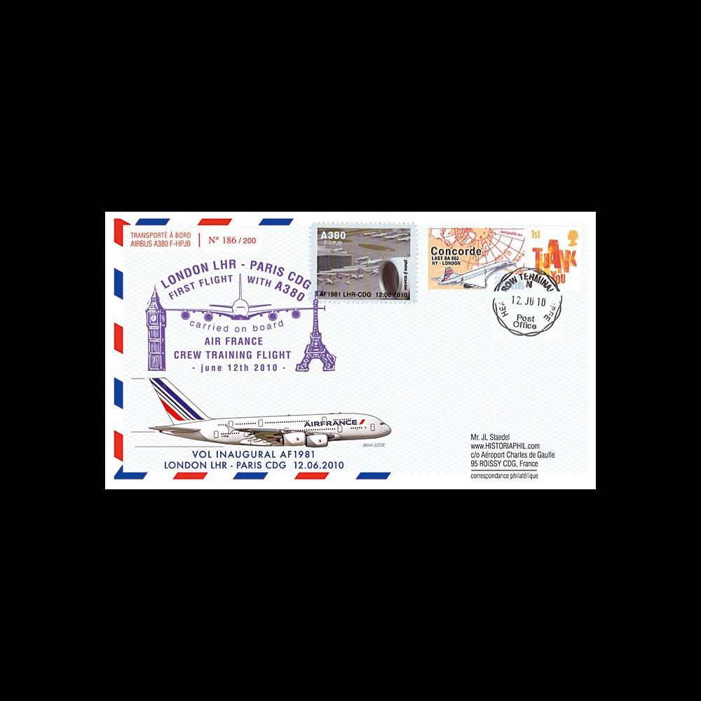 """A380-101T1 : 2010 - Pli voyagé """"1er vol A380 Air France Londres-Paris"""" - affrt TPP Concorde"""