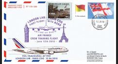 """A380-101T2 : 2010 - Pli voyagé """"1er vol A380 Air France Londres-Paris"""" - affrt White Ensign"""