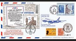 """A380-103 : 2010 - Pli voyagé """"1er vol A380 AF Paris-Londres & 70 ans Appel 18 juin"""""""