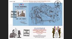 """DG10-5 : Maxi FDC """"Cérémonies Appel 18 Juin"""" PJ Colombey bloc """"To all frenchmen..."""""""