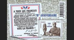 """DG10-3N : Bloc """"A tous les Français"""" émis pour les 70 ans de l'Appel du 18 Juin 1940"""