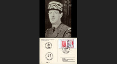 """DG10-7 : CP """"Portrait Général de Gaulle 1942"""" oblit. St-Egrève """"70e anniv. Appel 18 juin"""""""