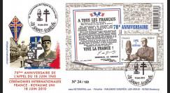 """DG10-8 : FDC """"Cérémonies Appel du 18 juin"""" oblit St-Egrève sur bloc """"A tous les Français"""""""
