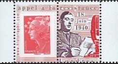 """DG10-9PT2 : Porte-timbre dentelé """"de Gaulle - Appel 18 juin 1940"""" - TVP Marianne rouge"""
