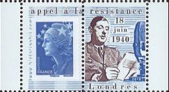 """DG10-9PT3 : Porte-timbre dentelé """"de Gaulle - Appel du 18 juin 1940"""" - TVP Marianne bleu"""