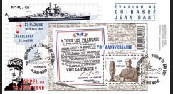 """DG10-12 : 2010 - FDC """"70 ans de l'Appel du 18 juin & évasion du cuirassié Jean Bart"""""""