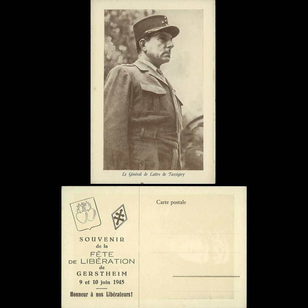"""DG45-GER2 : 1945 - authentique CP """"Gal de Lattre de Tassigny - Honneur à nos Libérateurs"""""""