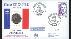 """DG90-1FP : 1990 - enveloppe numismatique """"30 ans Ve République & 100 ans de Gaulle"""""""