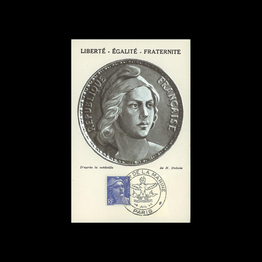 """W2-FR717-A1 : 1945 - CM 4f """"Marianne de Gandon"""" oblit. Salon de la Marine"""