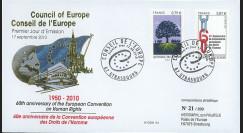 CE61-PJ : 2010 - FDC 1er Jour des timbres de service du Conseil de l'Europe