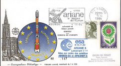 AR 23L-T2 : 1984 - FDC Ariane V11 sat. SPACENET 2 & MARECS B2 - affrt Europa 1964