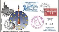 AR 24L-T2 : 1985 - FDC Ariane V12 - sat. ARABSAT-F1 et BRASILSAT-1 - affrt Europa 1984