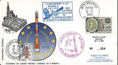 AR 24L-T5 : 1985 - FDC Ariane V12 - sat. ARABSAT-F1 et BRASILSAT-1 - affrt Traité de Verdun