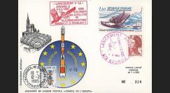 AR 24La : 1985 - Carte Ariane V12 - sat. ARABSAT-F1 et BRASILSAT-1 - oblit. GF Kourou
