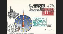 """AR 25L : 1985 - Carte spéciale (décalage horaire) """"Ariane V12"""" - oblit. flamme Les Mureaux"""