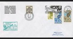 AR 25LA : 1985 - Env. officielle PE (décalage horaire) Ariane V12 oblit. flamme Les Mureaux