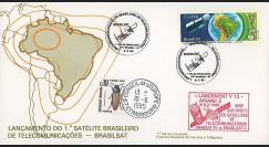 BRASILSAT1 : 1985 - FDC 1er Jour Brésil - lancement du satellite BRASILSAT-1