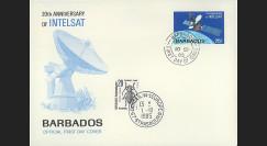 """INTELSAT4 : 1985 - FDC 1er Jour Barbades """"20e anniversaire d'Intelsat"""""""