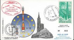 AR 26L-T1 : 1985 - FDC Ariane V13 - sat. TÉLECOM 1B & GSTAR - affrt Guyane Terre Espace