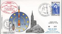 AR 26L-T2 : 1985 - FDC Ariane V13 - sat. TÉLECOM 1B & GSTAR - affrt Europa 1985
