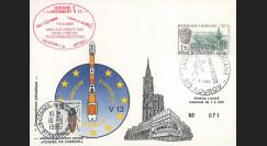 AR 26La-T2 : 1985 - CP Ariane V13 - sat. TÉLECOM 1B & GSTAR - affrt Abbaye Landévennec