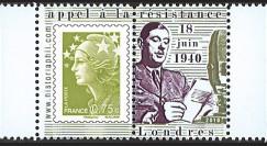 """DG10-9PT5 : Porte-timbre dentelé """"de Gaulle - Appel du 18 juin 1940"""" - 0"""