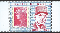 """DG10-9PT7 : Porte-timbre dentelé """"40 ans mort de Gaulle"""" - TVP Marianne rouge"""