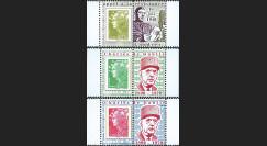 """DG10-9PT5-7 : 3 porte-timbres dentelés """"Appel 18 juin 1940 et 40 ans mort de Gaulle"""""""