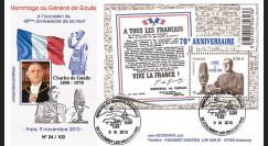"""DG10-15 : 2010 - FDC """"40e anniversaire de la mort du Gal de Gaulle"""" - oblit. Colombey"""