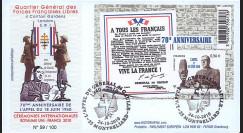 """DG10-13 : 2010 - FDC """"70e anniversaire de l'Appel du 18 juin 1940"""" - oblit. Montbéliard"""