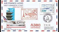 """A380-104 : 2010 - Pli """"1er vol Paris-Tokyo A380 Air France"""" voyagé à bord"""