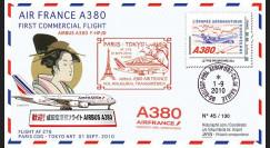 """A380-105 : 2010 - Pli """"1er vol Paris-Tokyo A380 Air France"""" voyagé à bord"""