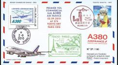 """A380-107 : 2010 - Pli JAPON-FRANCE """"1er vol Paris-Tokyo A380 Air France"""" voyagé à bord"""