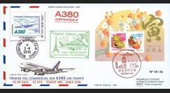 "A380-107 : 2010 - Pli JAPON-FRANCE ""1er vol Paris-Tokyo A380 AF275"" voyagé - Affrt bloc"