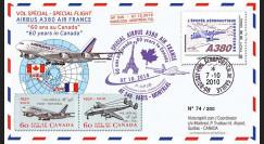 """A380-109 : 2010 - Pli voyagé """"Vol A380 Paris-Montréal - Air France"""